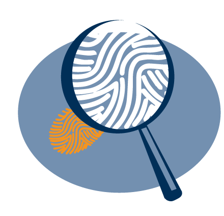 Illustration of a magnifying glass zoomed in on a footprint